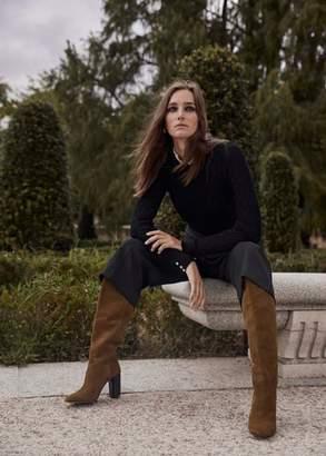 MANGO Leather high-leg boots tobacco brown - 6 - Women