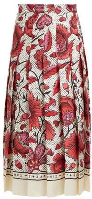 Gucci Alsacienne Print Pleated Silk Skirt - Womens - Pink Multi