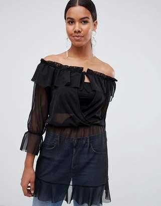 Missguided mesh waist tie bardot tunic