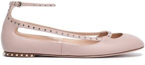 Valentino Crystal-studded Cutout Leather Ballet Flats