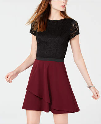 Speechless Juniors' Colorblocked Lace Fit & Flare Dress