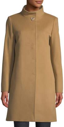 Cinzia Rocca Snap-Front Wool-Blend Walking Coat, Camel