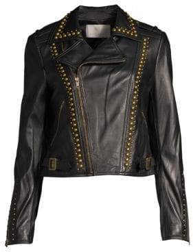 Ramy Brook Women's Yoma Studded Leather Jacket - Black - Size XXS