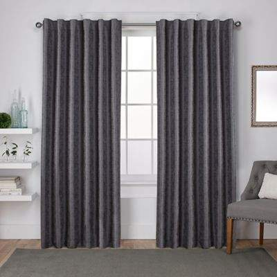 Exclusive Home Zeus 108-Inch Rod Pocket Window Curtain Panel Pair in Black