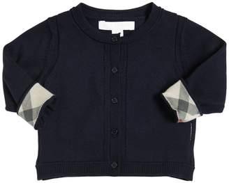 Burberry Cotton Knit Cardigan W/ Check Cuffs