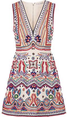 Alice + Olivia Alice Olivia - Patty Embellished Cotton-canvas Mini Dress - Ivory $915 thestylecure.com