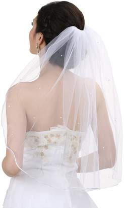 "Venus Jewelry 1T 1 Tier Rhinestones Crystal Sattin Rattail Edge Bridal Wedding Veil - Color Shoulder Length 25"""