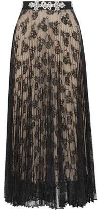 Christopher Kane Crystal-Embellished Pleated Chantilly Lace Midi Skirt
