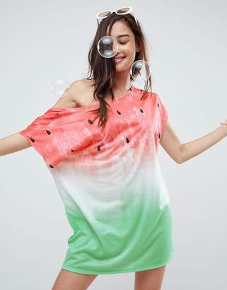 Asos Watermelon Slouchy Off Shoulder Jersey Beach Cover Up