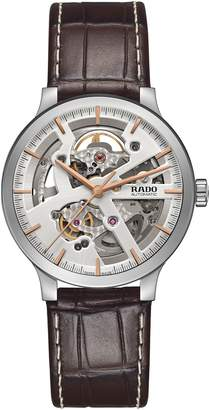 Rado Centrix Open Heart Automatic Leather Strap Watch, 38mm