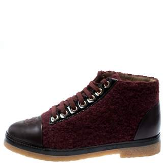 Chanel Burgundy Tweed Ankle boots