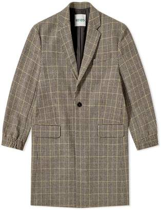 Kenzo Long Wool Check Coat