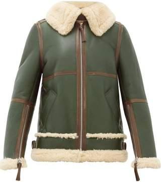 Acne Studios Shearling Leather Aviator Jacket - Womens - Khaki