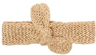 BEIGE Reinhard Plank Hats - Top Bow Raffia Knit Hairband - Womens