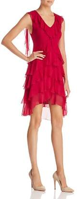 Alice + Olivia Felicita Tiered Ruffled Silk Dress