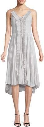 Occasion By Dex Sleeveless Ruffle Metallic Plisse Dress