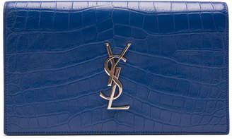Saint Laurent Clutch Embossed Croc Royal Blue