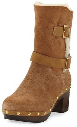 UGG Brea Shearling Wood-Heel Boot, Chestnut $144 thestylecure.com