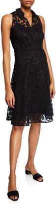 Nanette Lepore Nanette Button-Detail Lace Shirt Dress