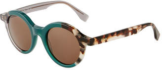 Fendi Two-Tone Round Sunglasses