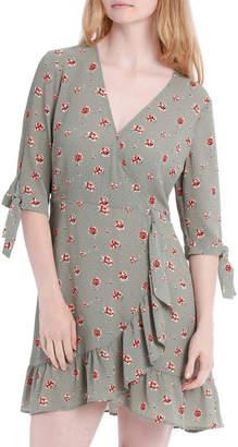 Miss Shop Ruffle Tie Sleeve Dress - Soft Sage Rose Polka