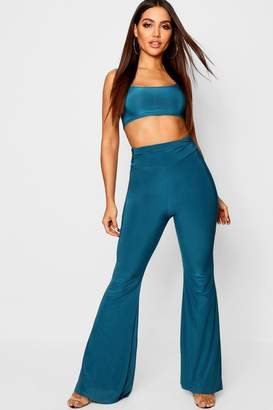 boohoo Square Neck Bralet + Ruched Detail Wide Leg Trouser Co-Ord