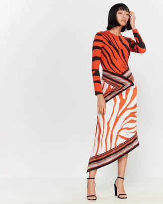 Roberto Cavalli Red Zebra Stripe Midi Dress
