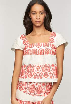 Milly Mykonos Embroidered Cropped Flutter Sleeve Blouse