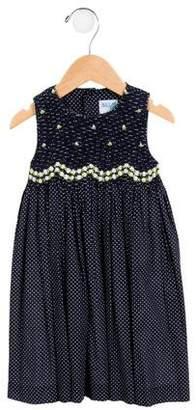 Luli & Me Girls' Embroidered Polka Dot Dress