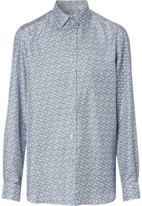 Burberry Classic Fit Monogram Print Silk Twill Shirt