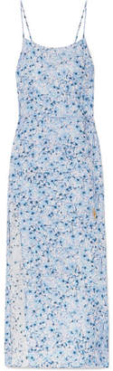 Murano Paloma Blue Floral-print Silk-satin Midi Dress - Sky blue