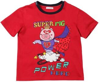 Dolce & Gabbana Super Pig Print Cotton Jersey T-Shirt