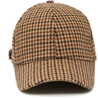 Officine Generale Houndstooth Wool Baseball Cap