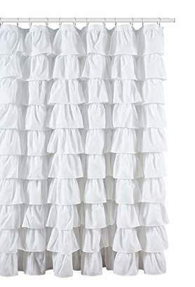 Ruffled White Fabric Shower Curtain