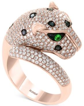 Effy Diamond (1-1/2 ct. t.w.) & Tsavorite Accent Panther Ring in 14k Rose Gold