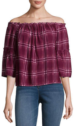 Arizona 3/4 Sleeve Off Shoulder Sleeve Plaid Peasant Top-Juniors