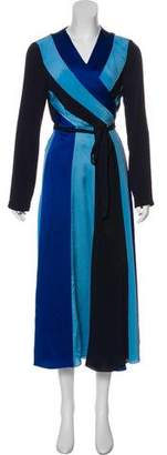 Diane von Furstenberg Silk Long Sleeve Maxi Dress