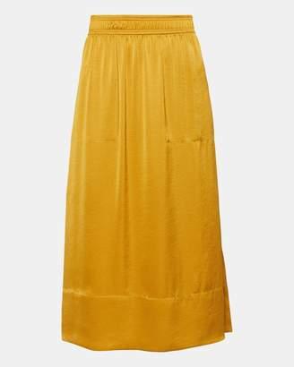 Theory Satin Pull-On Midi Skirt