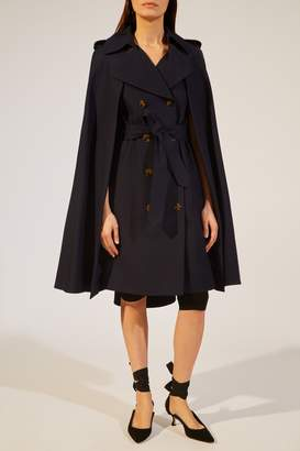 KHAITE The Donna Trench Cape in Classic Navy