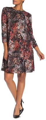Robbie Bee Ruched Sleeve Fit & Flare Knit Dress