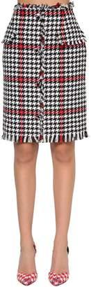 MSGM Cotton Blend Tweed Pencil Skirt