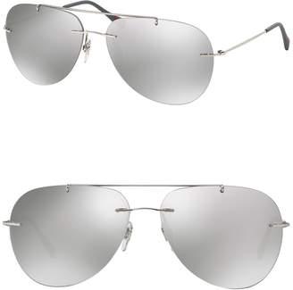 Prada Linea Rossa 63mm Feather Steel Aviator Sunglasses