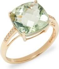 Effy August 14K Yellow Diamond & Green Amethyst Ring