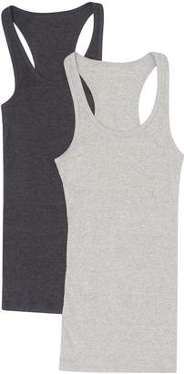 Zenana Outfitters 2 Pack Zenana Women's Ribbed Racerback Cotton Tank Tops