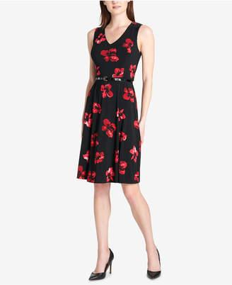 Tommy Hilfiger Floral Belted Fit & Flare Dress