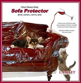 clear LAMINET Thick Crystal Heavy-Duty Water Resistant Sofa/Couch Cover - PERFECT For Protection Against CAT/DOG Clawing