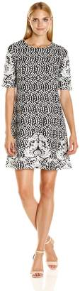 Ronni Nicole Women's Elbow Sleeve Printed Textured Border Print Knit A-Line, Black/Ivory