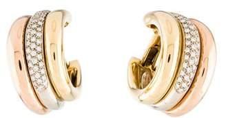 Cartier Vintage Diamond Tri-Color Hoop Earrings