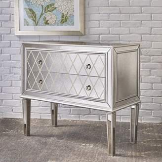 Noble House Dillon Mirrored 2 Drawer Cabinet with Faux Wood Frame, Silver