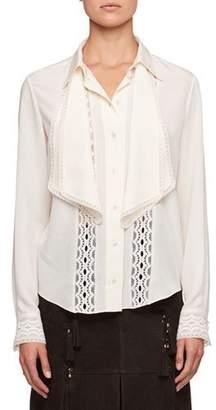 Chloé Button-Front Long-Sleeve Crepe de Chine Shirt w/ Lace Insets